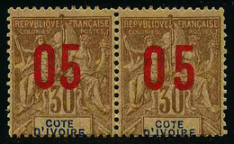 COTE D'IVOIRE - YT 37 * Et 37A * (CHIFFRES ESPACES) SE TENANT - TIMBRES NEUFS * - Costa D'Avorio (1892-1944)