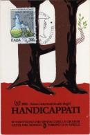 Italia 1981 Torino Anno Int.le Handicappati Convegno Sindaci Grandi Città Del Mondo Cartolina Annullo - Behinderungen