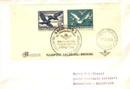 Österreich Block (ungezähnt) Als EF Auf Flugpost - Brief Von Salzburg 1950 Nach Belgien - Poste Aérienne