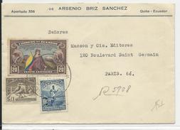 1938 - EQUATEUR - ENVELOPPE RECOMMANDEE De QUITO Pour PARIS - Equateur