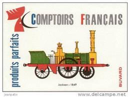BUVARD  - COMPTOIRS FRANCAIS - Chemin De Fer - Locomotive Jackson - 1849 - Buvards, Protège-cahiers Illustrés