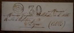 Enveloppe Avec Cad De Beaune, Adressée à Monsieur Guignard Bibliothécaire à Dijon, 1857 - Marcophilie (Lettres)