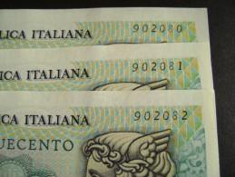 Lotto 3 Banconote Serie Consecutive  500 LIRE MERCURIO 1976 FDS - 500 Lire