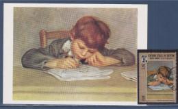 =Auguste Renoir  Son Fils Dessinant Carte Postale Et Timbre Oblitéré État Kathiri De Seiyun Reprenant Le Visuel De La CP - Sonstige - Afrika