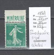 France  Semeuse Minéraline - Yvert 188A - SANS CHARNIERE ET SIGNE SCHELLER - 1/3 De Cote - 1906-38 Semeuse Camée