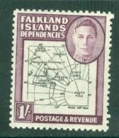 Falkland Islands Dep: 1946/49   KGVI - Maps    SG G8a   1/-  [Gap In 80th Parallel]  MH - Falkland