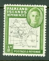 Falkland Islands Dep: 1946/49   KGVI - Maps    SG G9   ½d    MH - Falkland