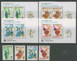 South Korea 1987 Olympic Games Seoul, Table Tennis, Volleyball Etc. Set Of 4 + 4 S/s MNH