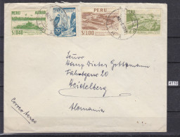 + PERU 1953, LETTER, LIMA 8. MAI. 1953 TO GERMANY, WRINKLED, See Scans - Peru