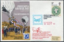 1970 GB RAF Museum Battersea Westland Wessex Helicopter Philympia Exhibition Flight Cover. Siege Of Paris - 1952-.... (Elizabeth II)