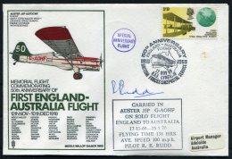 1969 GB RAF Museum Cover. First England - Australia Flight BFPS Middle Wallop - Adelaide Pilot SIGNED - 1952-.... (Elizabeth II)
