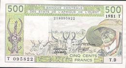 W.A.S. LETTER T = TOGO  P806Tb1    500 FRANCS  1981 AU  NO P.h. ! - Togo