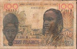 W.A.S. LETTER B = BENIN  P201Bf  100 FRANCS  ND (1965) Signature 4 FINE - Benin