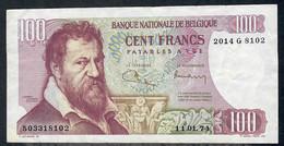 BELGIUM  P134b  100 FRANCS   11.1.1974    VF   NO P.h. - 100 Francs