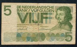 PAYS-BAS  P90a  5  GULDEN   1966  VG Central Hole - [2] 1815-… : Reino De Países Bajos