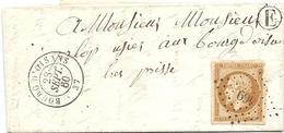 """Lettre 1860, BOURG D'OISANS, Pour Bourg,cachet Facteur E, """"très Pressé"""",  Oblitération Grille Losange 469, Napoléon III, - Postmark Collection (Covers)"""