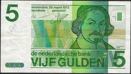 PAYS-BAS  P95  5  GULDEN   1973  Small Writing Otherwise VF, NO P. H. ! - [2] 1815-… : Reino De Países Bajos