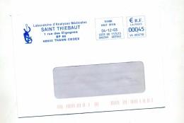 Lettre Flamme Ema Thann Laboratoire Saint Thiebaut - Marcophilie (Lettres)