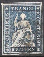 III.Periode Faden Grün 1858: 10 RAPPEN Blau Zu 23 G Mi 14IIBym VOLLRANDIG Mit O LIESTAL (Zu CHF 30.00++) - 1854-1862 Helvetia (Non-dentelés)
