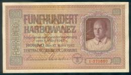 Deutsche Besatzung, German Occupation - Ukraine, 500 Karbowanez, UNC, Ro. 599, Rare, 1942 ! - 1933-1945: Drittes Reich
