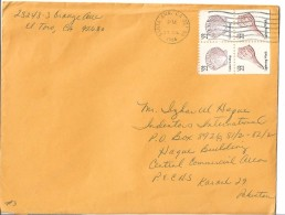 USA Airmail 1985 Calico Scallop (Argopecten Gibbus) 22c, Lightning Whelk (Sinistrofulgur Perversum) 22c. - Brieven En Documenten