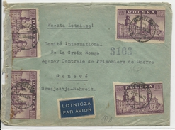POLOGNE - 1946 - ENVELOPPE Par AVION Avec CENSURE De POPIELOW Pour GENEVE (PRISONNIERS DE GUERRE - CROIX ROUGE) - 1944-.... Republic