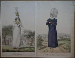 2 Gravures De Mode Début XIXème Normandie - Cauchoise Et Costume De Coutances - Estampes & Gravures