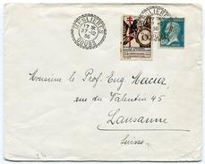 DOUBS De MESLIERES   Cachet Facteur Boîtier B3 Du 27/12/1936 Sur Env. Pour La SUISSE+ Vignette Tuberculose - Postmark Collection (Covers)