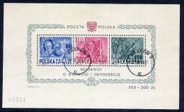 POLAND 1948 US Constitution Block, Used.  Michel Block 11 - Blocks & Sheetlets & Panes