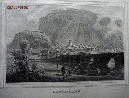 BELLE  LITHOGRAPHIE  ORIGINALE  DE  SAVOIE-  MONTMELIAN  Et Le Pêche  Vers 1840/1860 - Lithographies
