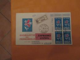 1.12.1963 Raccomandata ESPRESSO Quartina Giornata Francobollo Timbro Lineare ANNULLATO - 1961-70: Marcofilie