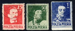 POLAND 1944 Liberation Heroes Perforated 11½, Used.  Michel 380-82C - 1944-.... Republic