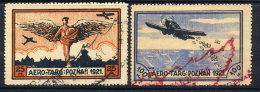 POLAND 1921 Aero-Targ Semi-offical Stamps, Used.  Michel I-II - Airmail