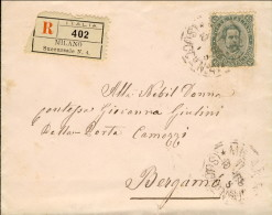 1889-Italia Busta Raccomandata Affrancata 45c.Umberto I Cat.Sassone Euro 36 - 1878-00 Humbert I