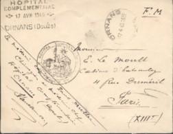Ornans - Cachets Circulaire Et Linéaire De L'Hôpital Complémentaire D'Ornans - - Guerre De 1939-45