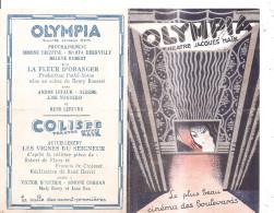 Programme De L´Olympia Ex Théatre Jacques Haïk Et Cinéma En 1932 Avant De Devenir Salle De Spectacle . - Programmes