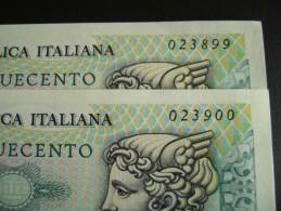 Lotto 2 Banconote Serie Consecutive  500 LIRE MERCURIO 1976 FDS - 500 Lire