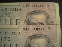 2  BANCONOTE 1000 LIRE II TIPO VERDI CON NUMERO SERIE CONSECUTIVE  1979 - [ 2] 1946-… : Républic