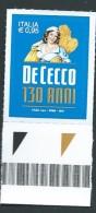 Italia 2016; Pastificio De Cecco, 130° Anniversario. Eccellenze Del Sistema Produttivo. Francobollo Di Bordo Inferiore. - 2011-...: Mint/hinged