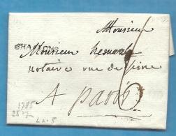 Marne - Chalons Sur Marne Pour Paris. LAC De 1785. MP Lenain N05 - Marcophilie (Lettres)