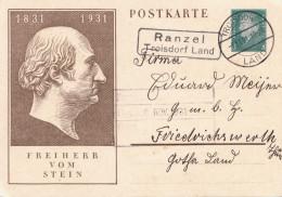 DEUTSCHES REICH 1931 - 8 Pfg Ganzsache Auf Bildpostkarte Freiherr Vom Stein Gel.v.Troisdorf Land Nach Friedrichswerth