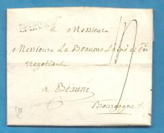 Marne - Eperny Pour Labaume à Beaune (Cote D'Or). LAC De 1785 écrite à Pierry - 1701-1800: Précurseurs XVIII