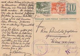 SCHWEIZ 1950 - 10 C Ganzsache + 5 + 10 C Auf Zensurierter Pk Gel.v.St.Gallen Nach Wien