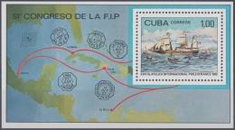 1982.52 CUBA 1982. MNH. HF. Ed.2833. SPECIAL SHEET CONGRESO DE LA FIP. BARCO PAQUEBOT SHIP FRANCIA FRANCE MARITIME MAIL - Cuba