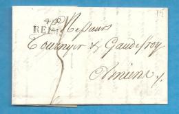 Marne - Reims Pour Amiens (Somme). LAC - Marcophilie (Lettres)