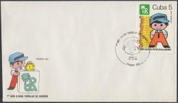 1984-FDC-41 CUBA. FDC. 1984. ANIV DEL BANCO POPULAR DE AHORRO. NIÑO. CHILDREN. BANK - FDC
