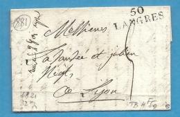Haute Marne - Langres Pour Lyon. LAC De 1821 - Marcophilie (Lettres)