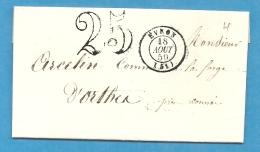 Mayenne - Evron Pour La Forge D'Orthes Par Connée. CàD Type 15 + Taxe Tamponn25 - Marcophilie (Lettres)