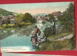 FJC-25  Aux Bords De L'Orbe à Vallorbe, Pêcheurs De Truites, ANIME. Cachet 1907 - VD Vaud