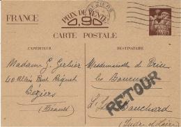 1940- C P Interzones Iris Sans Valeur  Avec RETOUR +au Dos,INADMIS / LIBELLE  IRREGULIER - Marcophilie (Lettres)